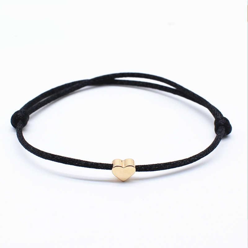 Bracelet à breloques Simple noir rouge couleur minimaliste réglable corde chaîne Bracelet chanceux coeur étoile pour les femmes amoureux perle bijoux