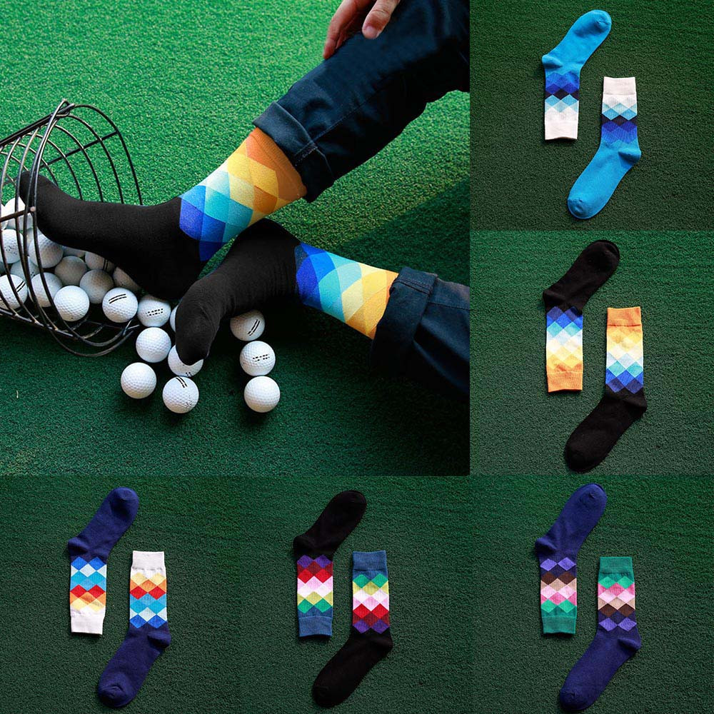 Fashion Cute Mens Sock Cotton Color Block Socks Warm Colorful Diamond Casual Dress Short Socks For Male Drop Shipping Gifts