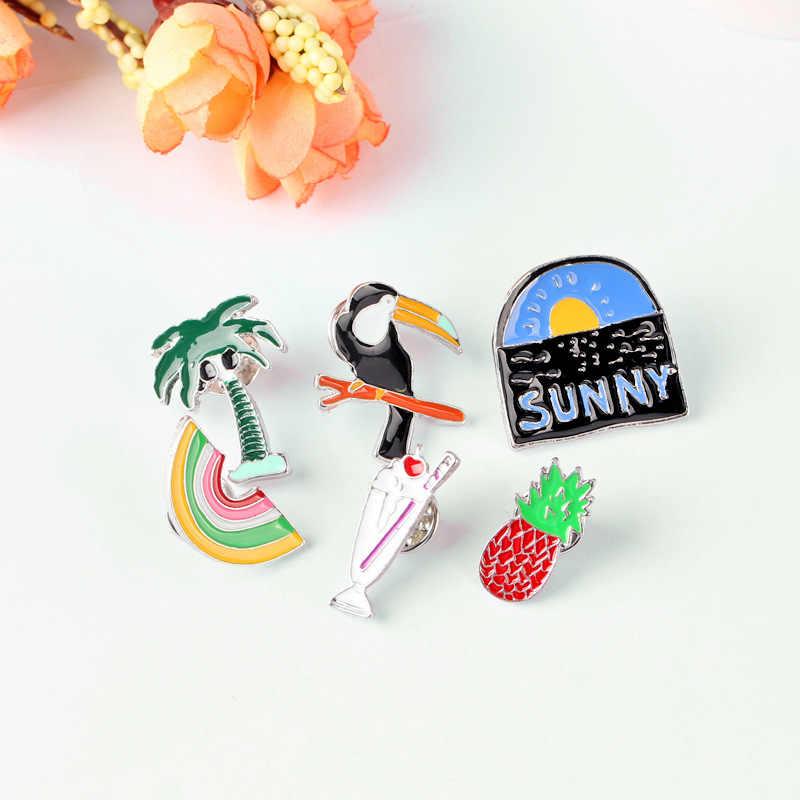 Pria dan Wanita Lencana Fashion dan Kreatif Burung Bros Pohon Kelapa Es Krim Nanas Pelangi Matahari Terbit Lencana Grosir Bros