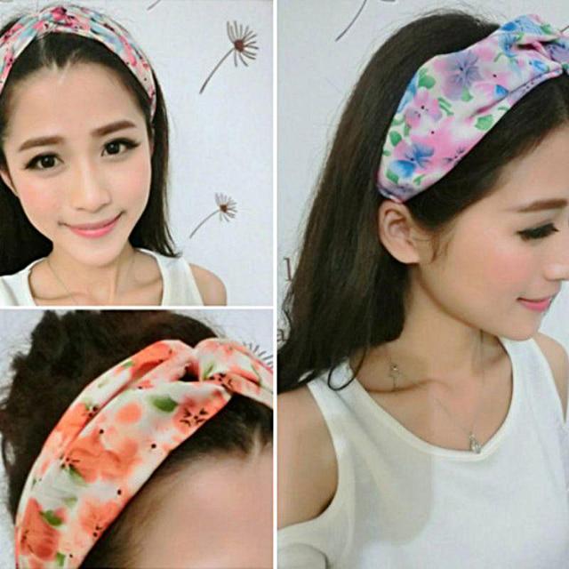 Elastic Cross Hair Band Twist Knot Beach Hair Accessories Floral Strip Printed Headband Women Turbans Head Wrap Ornaments
