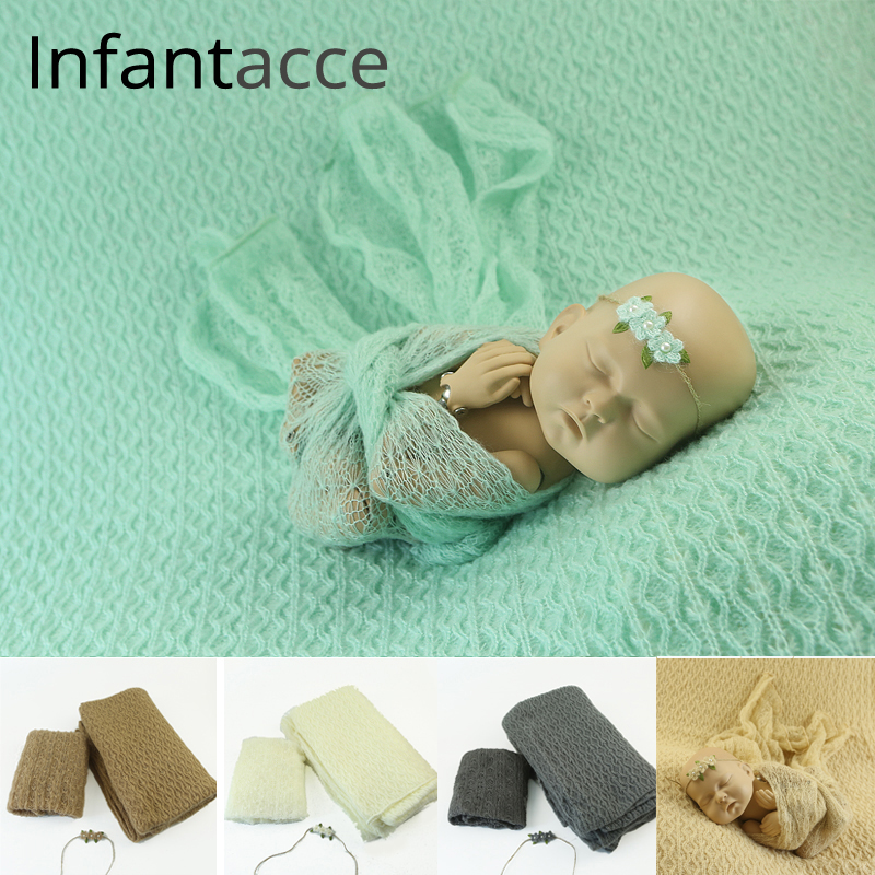 newborn photography props backdrops background blanket+mohair stretchy wrap+headband hairband baby photo prop wraps blankets