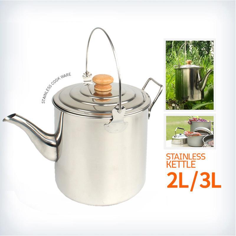 HobbyLane Outdoor Camping Stainless Steel Hanging Pot Large Capacity Teapot Coffee Pot