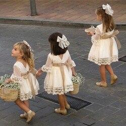 Verão novo doce bonito princesa do bebê meninas vestido de flor de renda criança criança criança menina do bebê pageant festa de casamento manga longa dot vestidos