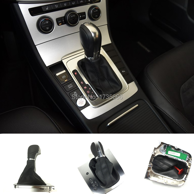 Car Style Black Leather Black Stitching AT DSG Gear Shift Knob Lever Cover Case For Vw
