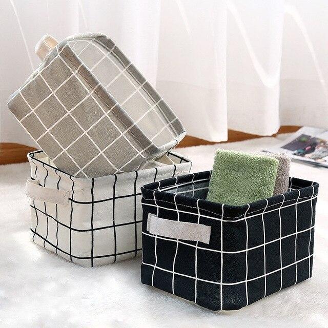 Desktop Storage Basket Cute Print Waterproof Organizer Cotton Linen 2