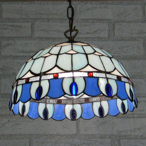 12inch mediterranean blue white mediterranean tiffany for Luminaire exterieur retro
