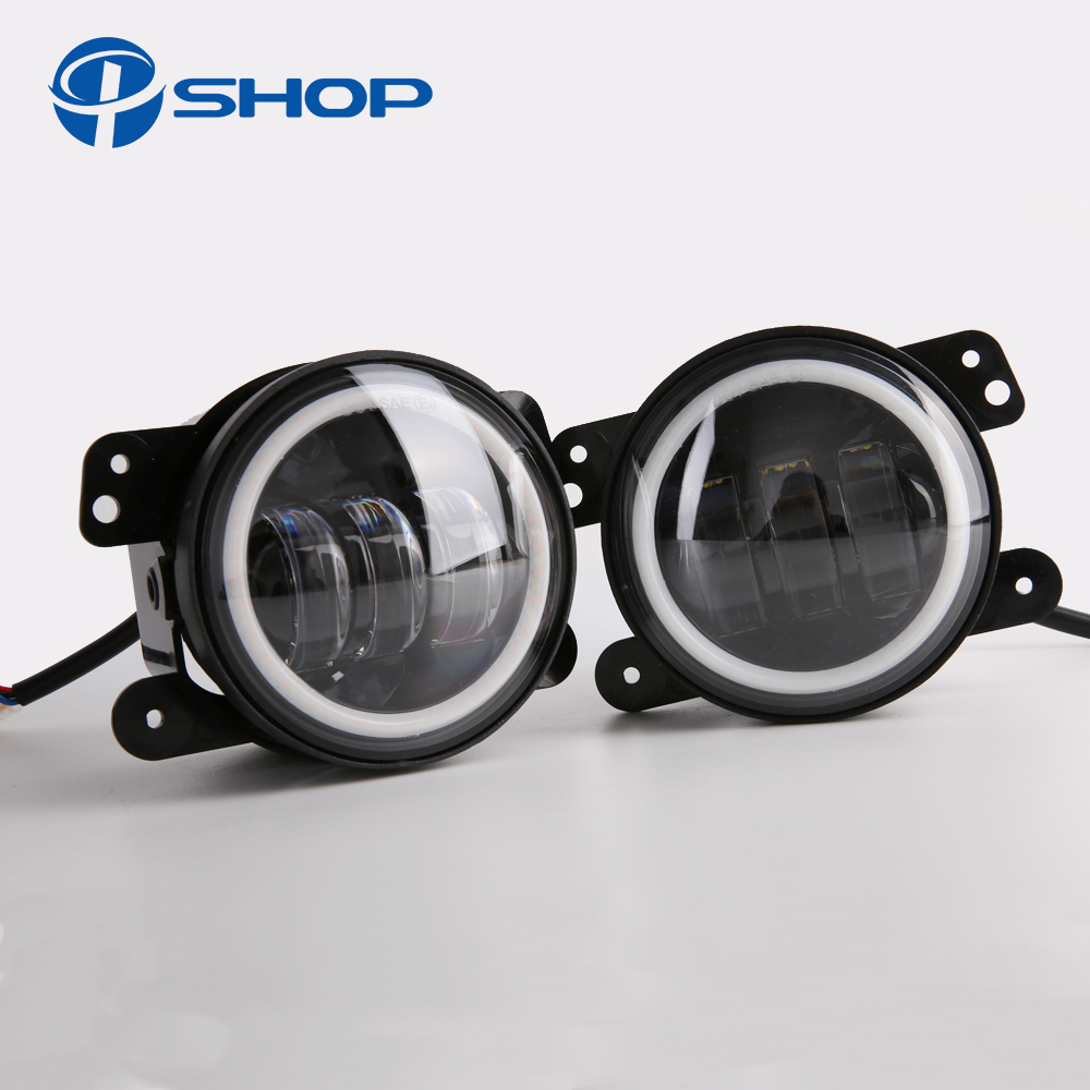 4 Inch Round Led Fog Light Headlight 30W Projector lens With Halo DRL Lamp Offroad For Jeep Wrangler Jk Dodge hummer H1 H2 black chrome round 75w high low beam drl led auto headlight driving fog lights for jeep wrangler hummer h1 h2 offroad