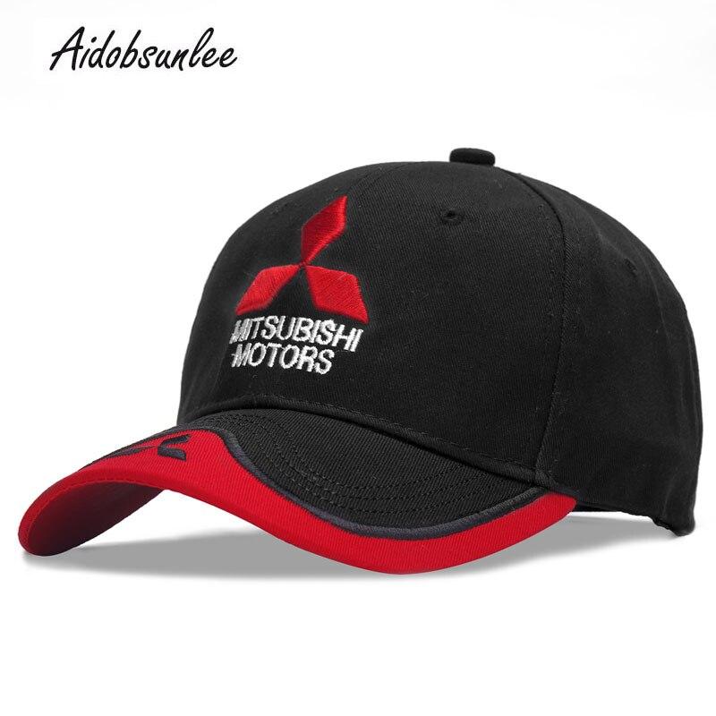 2018 New   Baseball     Caps   Summer 3D Mitsubishi   Cap   Embroidered Hat Racing Car Logo Trucket Hat   Baseball     Cap   Casual Adjustable Hat