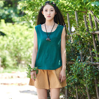 2015 Summer Style Solid Linen Women Tank Top Brand Street Casual Plus Size Loose Tank Tops