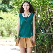 Summer Style Solid Cotton Linen Women Tank Top Mori girl Brand Casual Loose Tank Tops Green