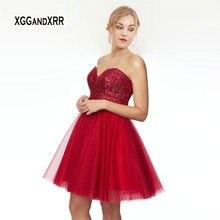 ca5f30643 Rojo Sexy vestido de fiesta 2019 brillante cariño de hombro sin espalda  Mini Vestido corto abalorios