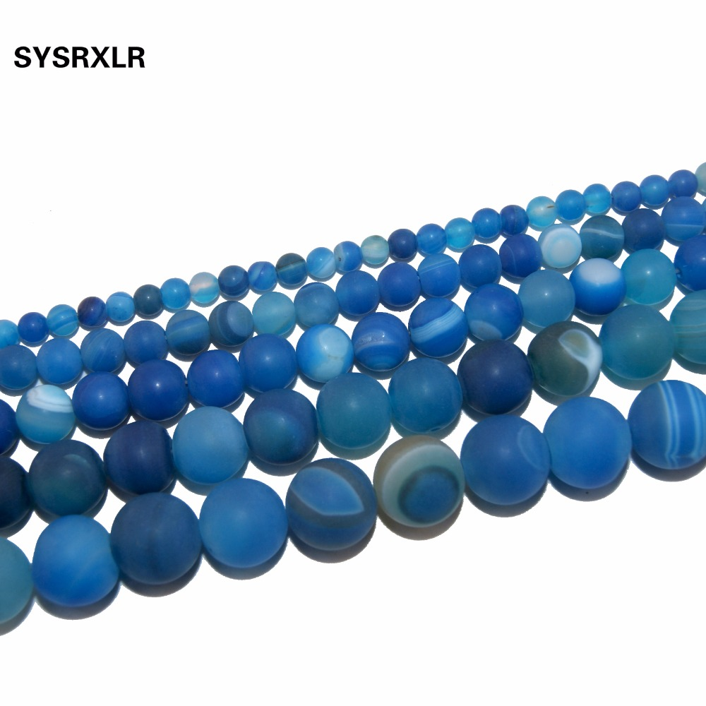 Wholesale Dull Polish Blue Banded Agat Natural Stone Round Beads For Jewelry Making DIY Necklaces Bracelets 4 6 8 10 12 MM in Beads from Jewelry Accessories