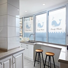 Custom dolphins window stickers toning electrostatic frosted stained self-adhesive glass film Sliding door kids room decorative