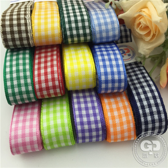wholesale plaid ribbon 15mm checked ribbon red, light purple, blue, pink scrapbooking accessary,Free shippping W027