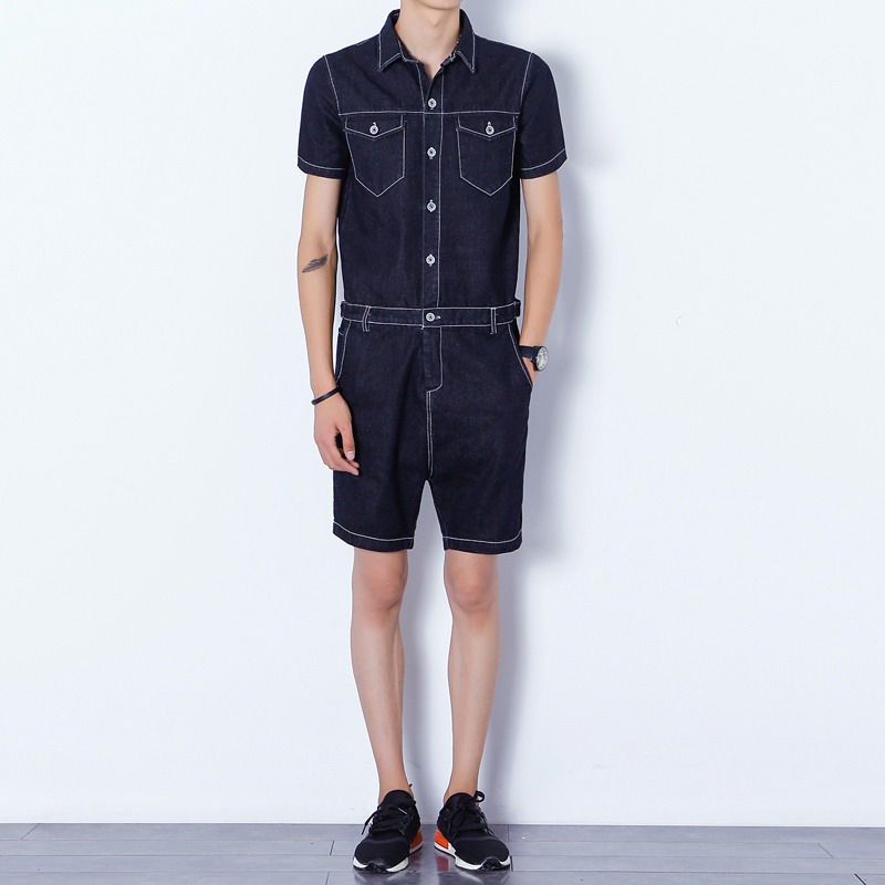 Mens Jumpsuit Denim Overalls Short Sleeves Men Baggy Cargo Pants with Suspenders Denim Bib Overalls Shorts for Men купить