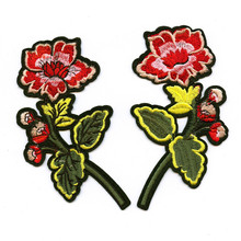 DOUBLEHEE Symmetry Mirror Flower Embroidered Iron On Patches For Clothing New Design Beauty Patch Badges diy