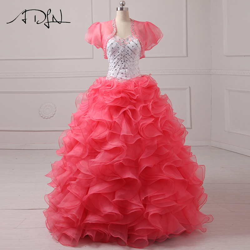 ADLN Elegant Quinceanera Dress with Jacket  Sweetheart Organza Watermelon Red and White Debutante Gown Vestido 15 Anos