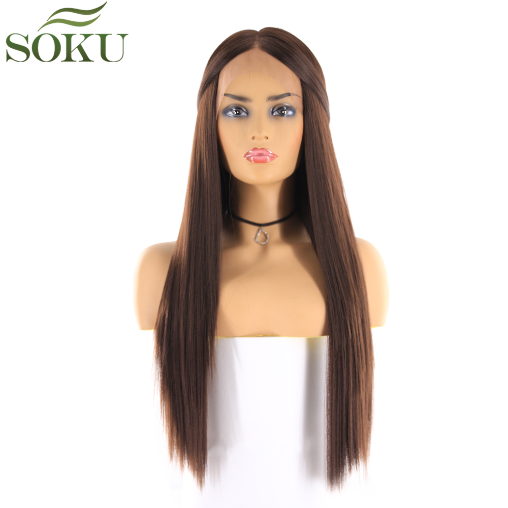 Image 2 - Synthetic Lace Front Wigs Long Straight Middle Part Wig SOKU 130% Density Glueless Heat Resistant Fiber Wigs For Black Women-in Synthetic Lace Wigs from Hair Extensions & Wigs
