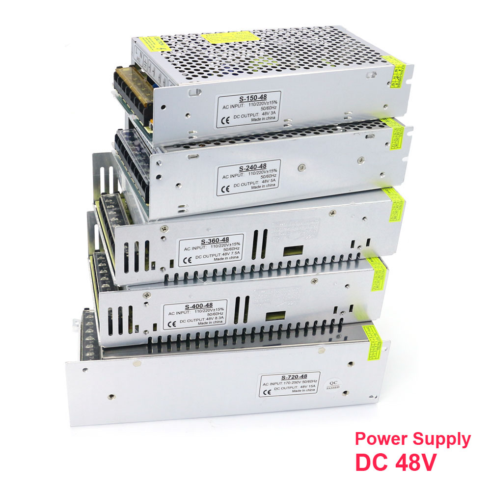 Ac to Dc 48V 3A 5A 7.5A 10A 15A 20A 150W 240W 360W 400W 500W 600W 720W 800W 1000W Switching Power Supply for Led LightsAc to Dc 48V 3A 5A 7.5A 10A 15A 20A 150W 240W 360W 400W 500W 600W 720W 800W 1000W Switching Power Supply for Led Lights