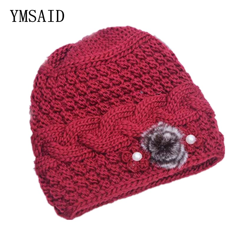 Ymsaid 2018 Winter New Classic Fur Flower Thick Brim Hat Ladies Knitted Hats  Fall Female Hat Knit Caps Beanie