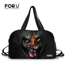FORUDESIGNS Black Tiger Leopard Sport Man Travel Duffel Tote Bags Fitness Train Gym Bags for Athletic Luggage Waterproof Bag
