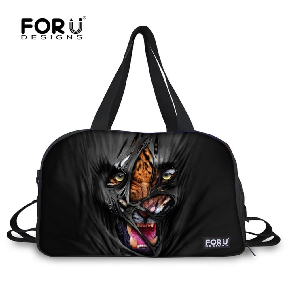 Prix pour Forudesigns noir tigre léopard sport homme voyage polochon fourre-tout sacs train de remise en forme gym sacs pour de sport bagages sac étanche