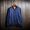 Burrima Men New Spring Bomber Jackets Print Pattern Casaco Masculino jaqueta masculina Red/Gray/Silver M-XXXL
