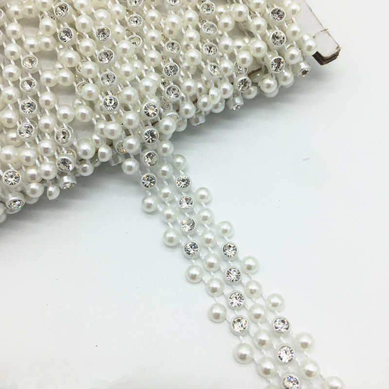 9a1a25cf10 1 Yards 14mm 3 Rows Rhinestone Chain Pearl Crystal Chain Sew On Trims  Wedding Dress Costume Applique #ZuL22