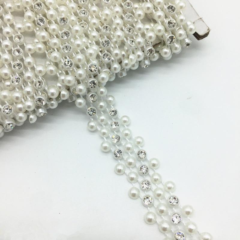 1 м 14 мм 3 ряда горный хрусталь цепи жемчужина Кристалл Сеть Пришить планки Свадебное платье Костюм аппликация # ZuL22