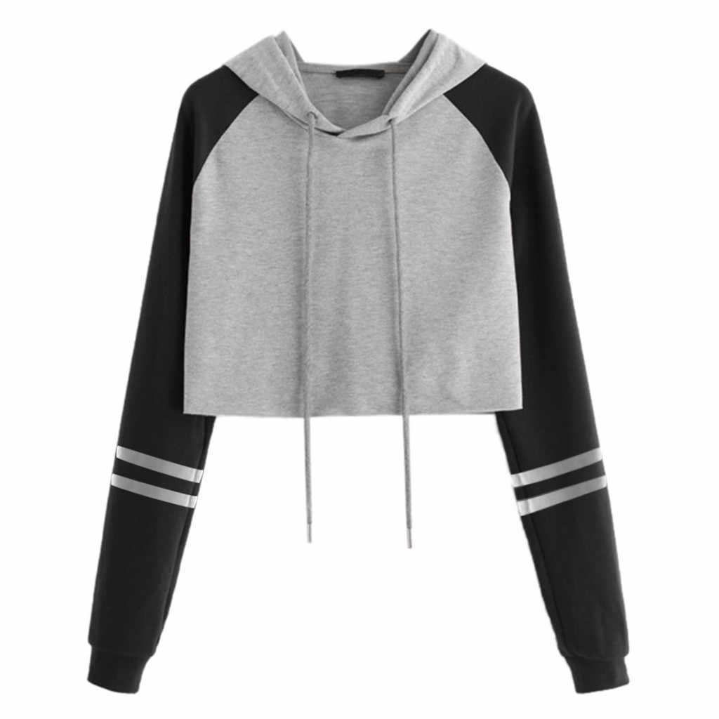 Kpop Hoodies Wanita Harajuku Lengan Panjang Sweatshirt Patchwork Menarik Streetwear Hip Hop Atasan Moletom Feminino Inverno Толстовка