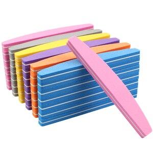 Image 1 - Lixa de unha esponja 50 peças, para manicure tampão de unha bloco 100/180 colorido barco esmeril placa lime a ongle