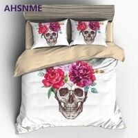 AHSNME Beautiful Flowers 3D Skull Duvet Cover Set US EU AU Double Queen King 2 3pcs