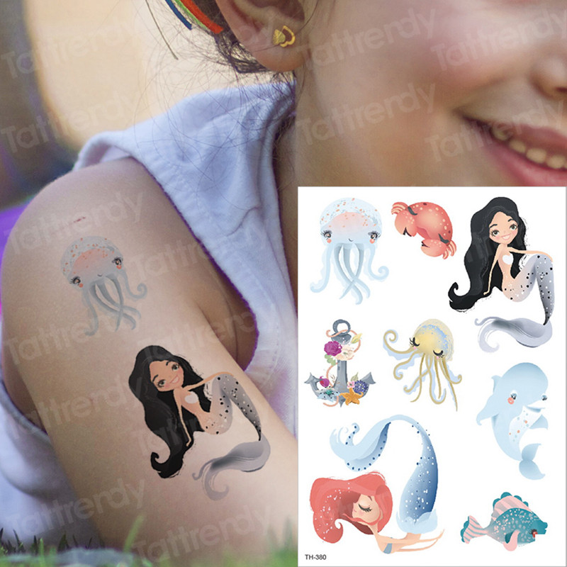 Us 112 30 Offtemporary Tattoo Kids Sticker Mermaid Tattoo Whale Sea Transfer Tattoo For Children Tattoos Animals Fish Unicorn Tatoo Mermaid In