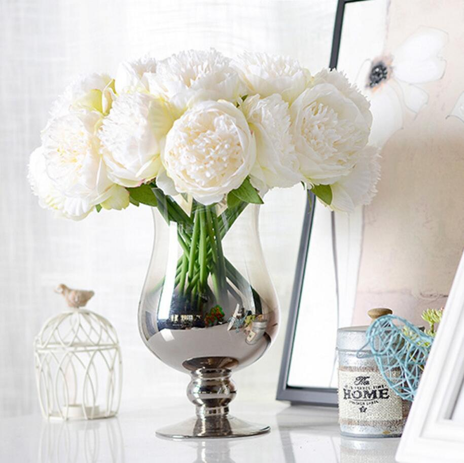 5 Heads Peonies Fake Flowers Artificial Flower Peony Bouquet Real