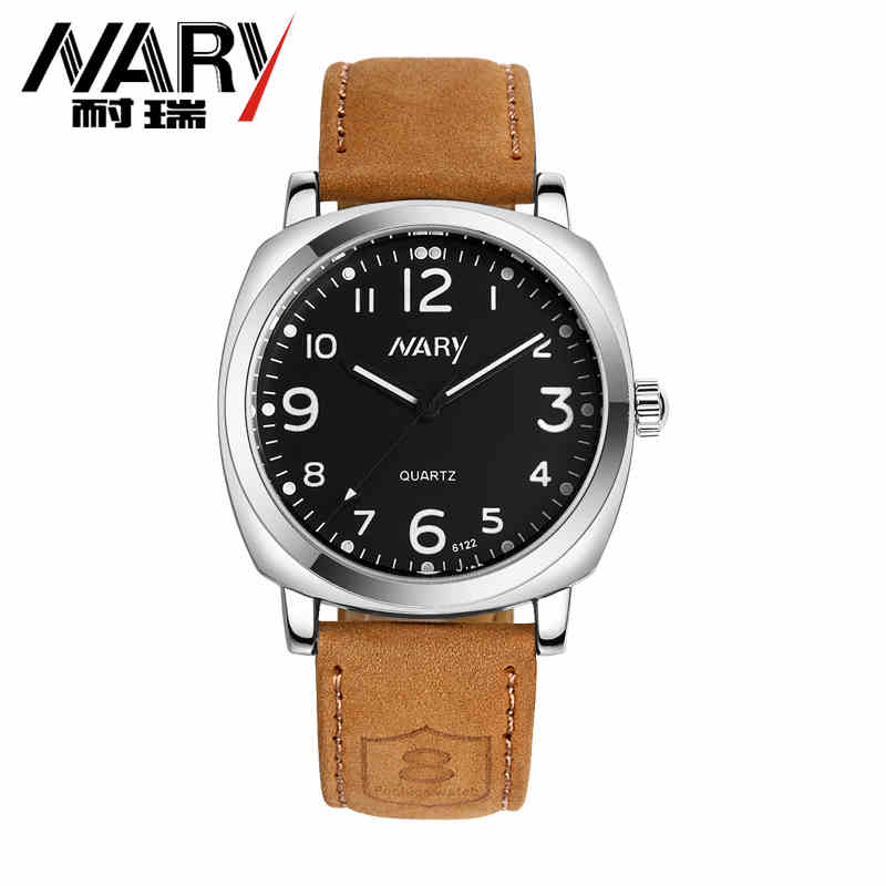 NARY Brand New Fashion Sport Style Watch Men Genuine Leather Strap Casual Quartz Wristwatch Popular Out-door Relogio Masculino цена