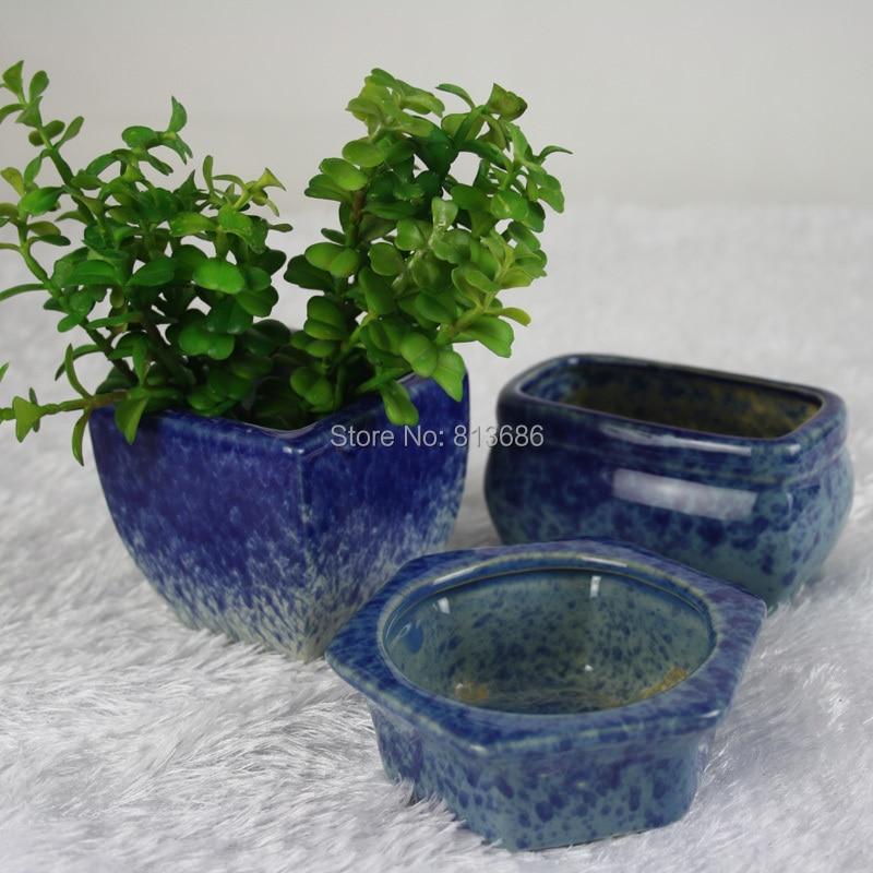 square round blue mini garden pots cactus planters indoor ceramic ...