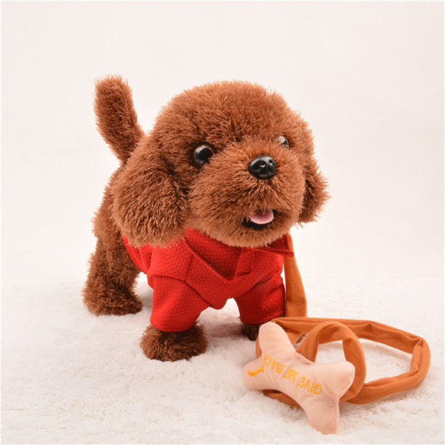 Abbyfrank Electronic Toy Dogs Plush Musical Singing Walking Dancing Pets Wear Clothes Animal Toys For Children Christmas Gift