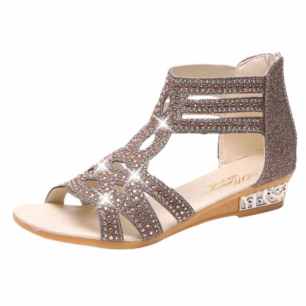 SAGACE Primavera Verano señoras cuña sandalias hueco cremallera antideslizante señoras resbalón-transpirable masaje ligero suave zapatos