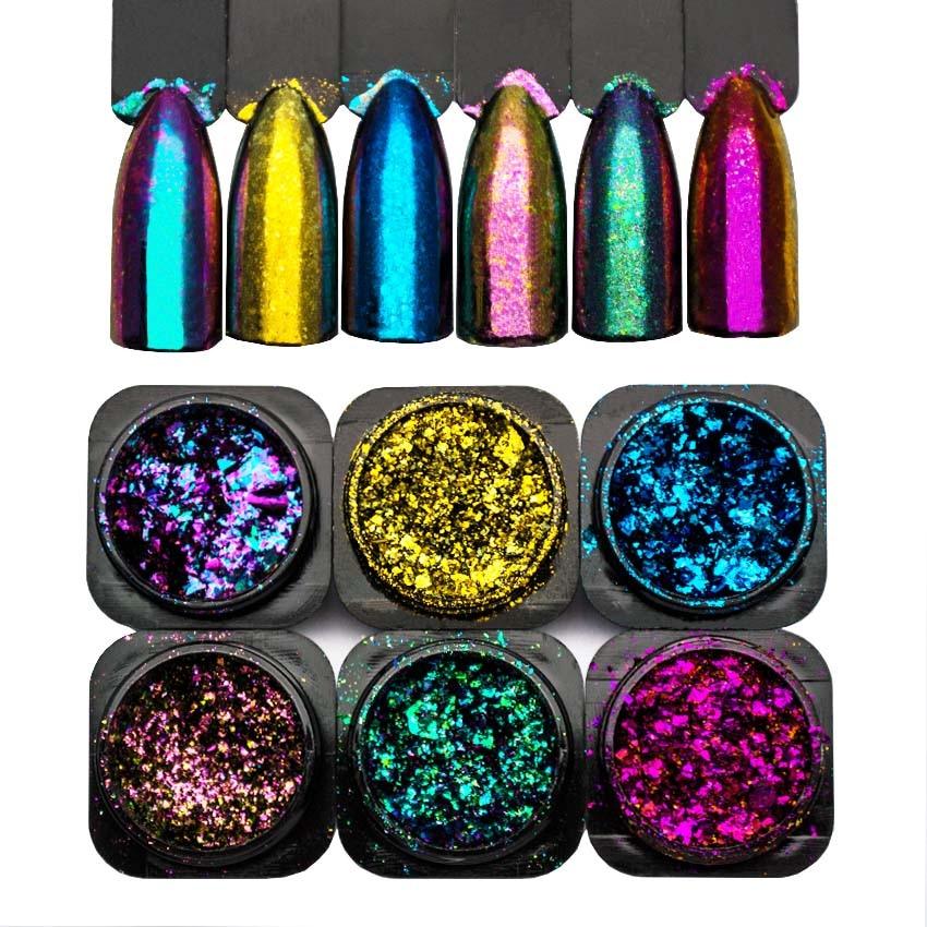 Holographic Chameleon Effect Flake Yucca Nail Sequins Mirror Glitter Powder Chrome Pigment Paillettes Glitter Nail Dust  SF3014
