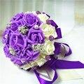 2017 de Boda Baratos/Ramos de Dama de honor Púrpura Romántica y Marfil Nupcial Hecho A Mano ramo de la Rosa Artificial Ramo de mariage boda