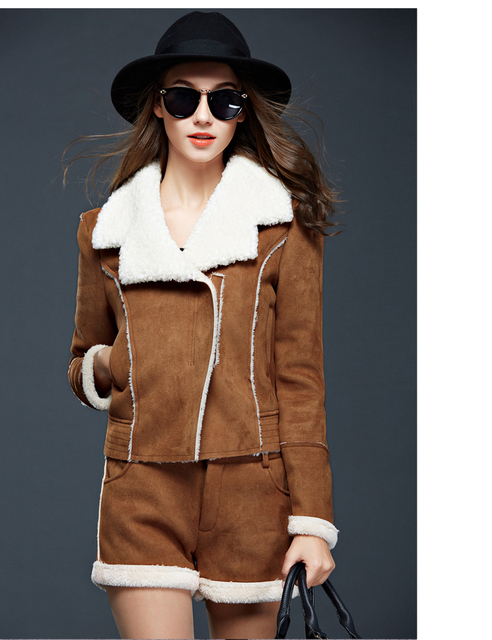 2016 fall and winter women's lambs wool Slim coat thick suede chaps long-sleeved jacket short jacket + spell suit female's sets