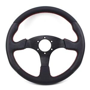 Image 3 - Universal 14inch 350mm Flat Genuine leather Drift Racing Steering Wheel