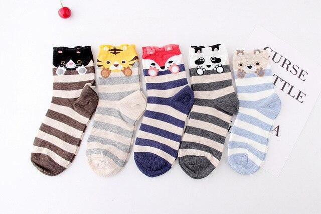 23c55660b1ed12 1 pair Cute Cartoon animal tiger Calzini Modello Donna Uomo bambini Unisex Cotone  Calzino Calzini