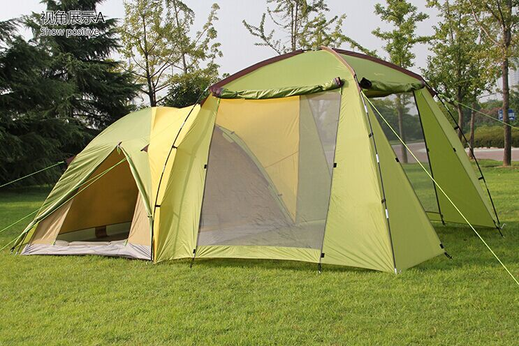 High quality 5-6 person double layer ultralarge one hall one bedroom camping party tent luxury ultralarge high quality one hall two bedrooms 6 8 10 12 outdoor camping tent 215cm height waterproof party family tent