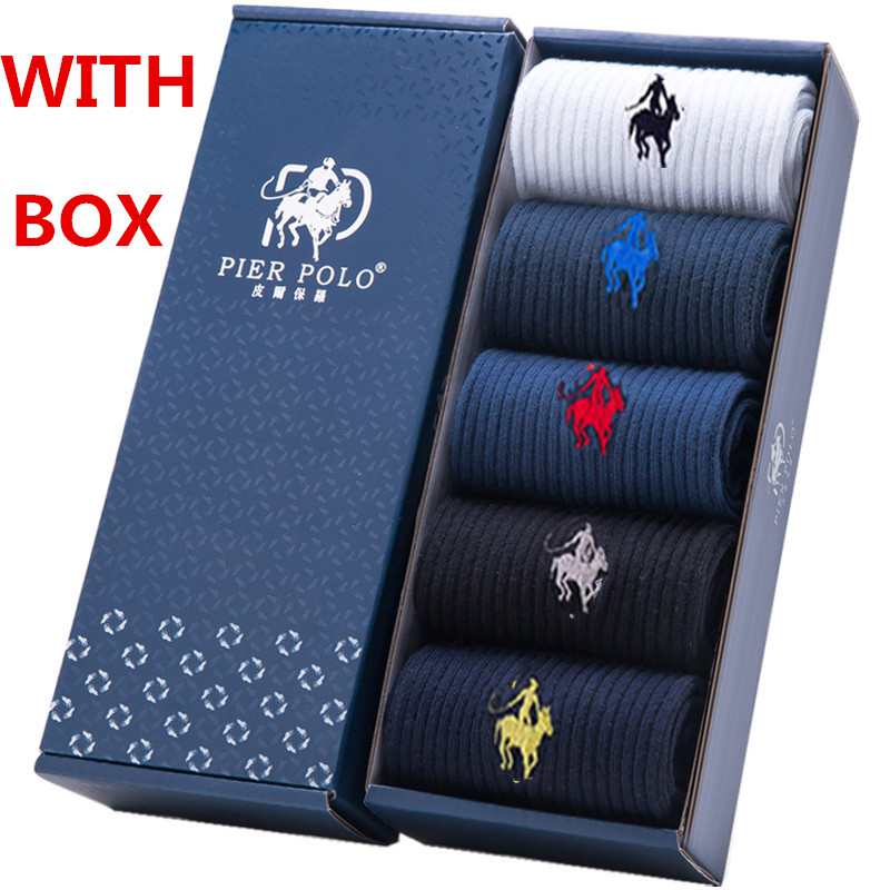 Brand Men Socks Dress Cotton Crew High Quality Breathable Business Socks Fashion Calcetines Hombre With Box Gift Socks 5 Pairs