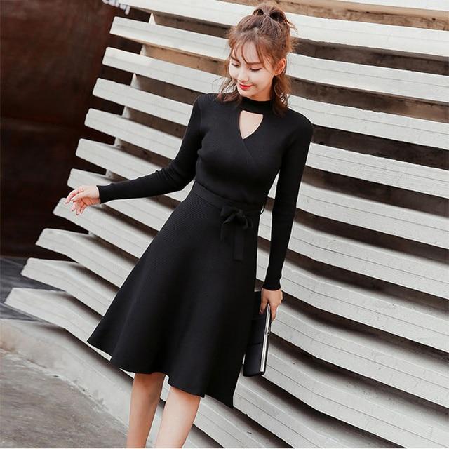 d28ac53478d Turtleneck Cut Out Long Sleeve Dress Women Casual Solid Autumn Winter  Korean Dress Women Knitted Sweater Elegant Midi Dress 2018