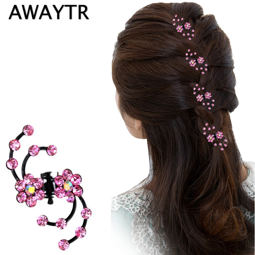 AWAYTR Hair Claw Clip 6Pcs/Lot Hot Sale Shiny Sweet Exquisite Rhinestone Plum Flower Hair Claws Hair Jewelry Accessories halloween party zombie skull skeleton hand bone claw hairpin punk hair clip for women girl hair accessories headwear 1 pcs