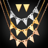 Women Triangle Necklace Earrings Set 1 Lot 3 Pcs Chram Necklace 1 Pair Earrings Gold Wedding