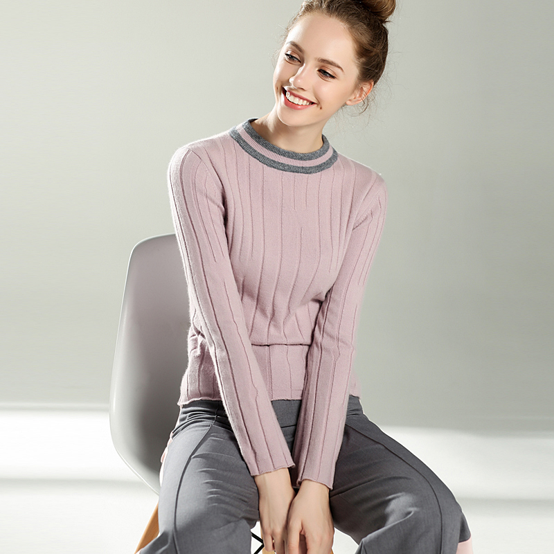 2017 new arrive women o-neck sweater vertical stripes pattern female autumn winter 100% cashmere pullover mulinsen new arrive 2017 autumn winter men