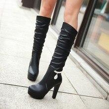 Women's Korean Rhinestones Elegant Platform Shoes Fashion Sexy Mid Calf Boots Chunky Heel High Heels For Ladies Online